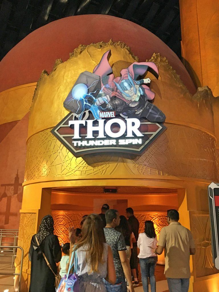 Entrance to Thor Thunder Spin ride IMG World of Adventure