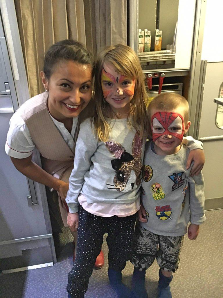 Face painting with Emirates crew