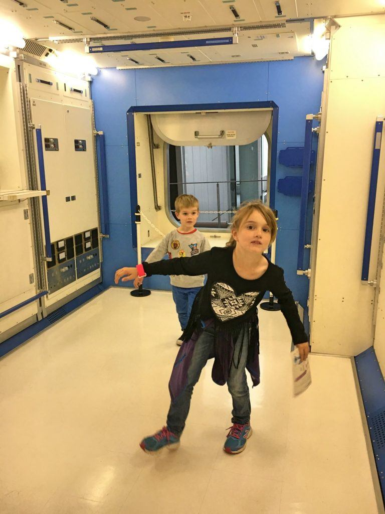 Having fun inside the replica International Space Station at the Miraikan