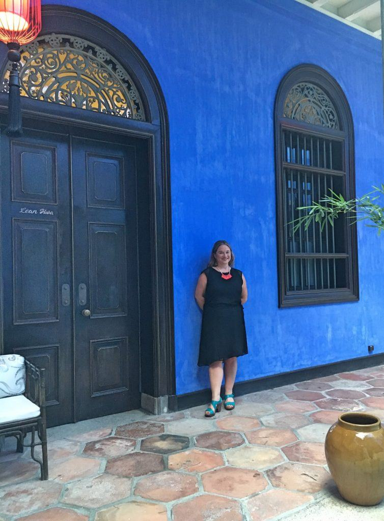 Outside one of the hotel rooms at Cheong Fatt Tze - The Blue Mansion