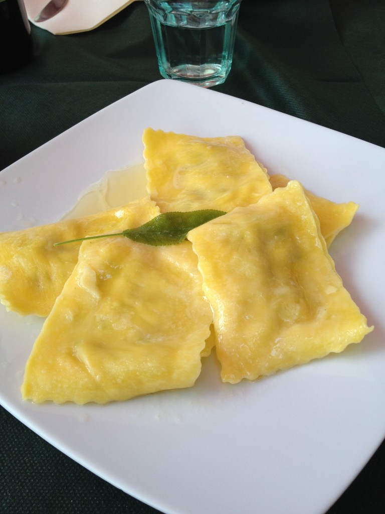Delicious sage and butter ravioli