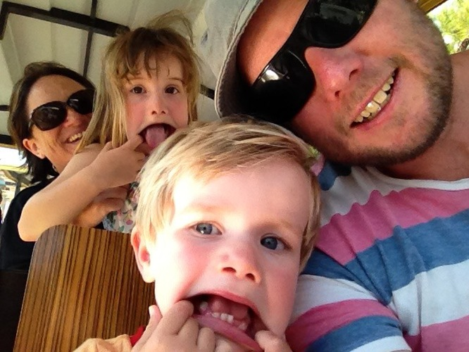 Family selfie goes pear-shaped on the mini train at Cassis