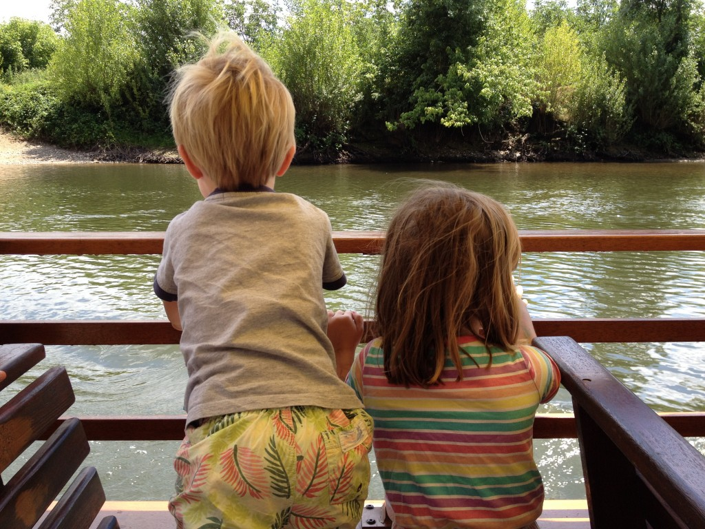 S and J enjoyed the boat trip on the river.
