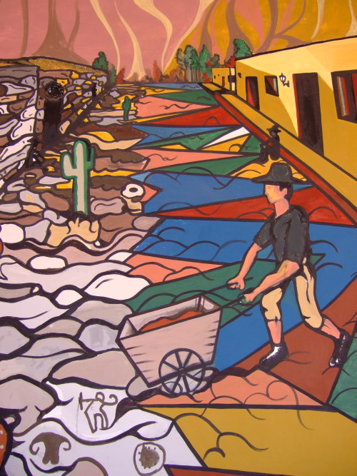Inside the museum were amazing painted murals of local life