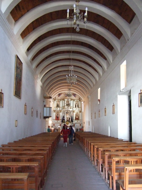 Inside the church at Cachi with its cardones curved roof