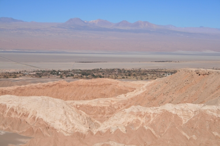 Mars valley with San Pedro de Atacama in the background