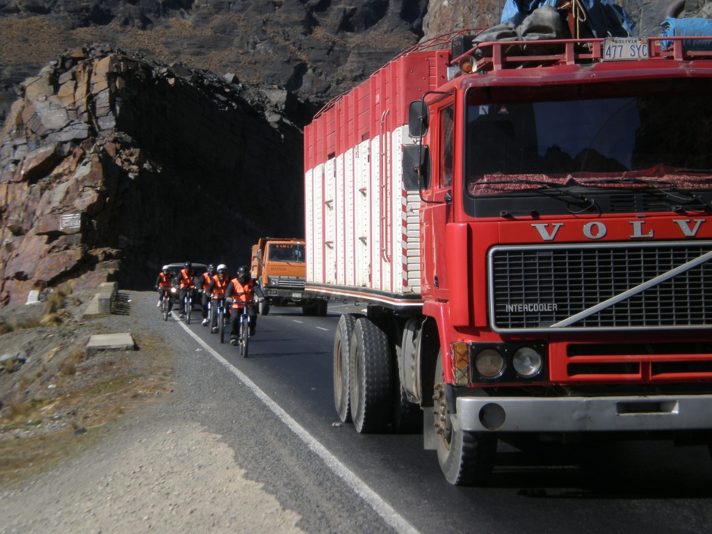 Avoiding trucks on the Bolivian highway