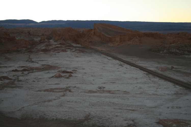 Salt deposits at the Valley of the Moon at dusk