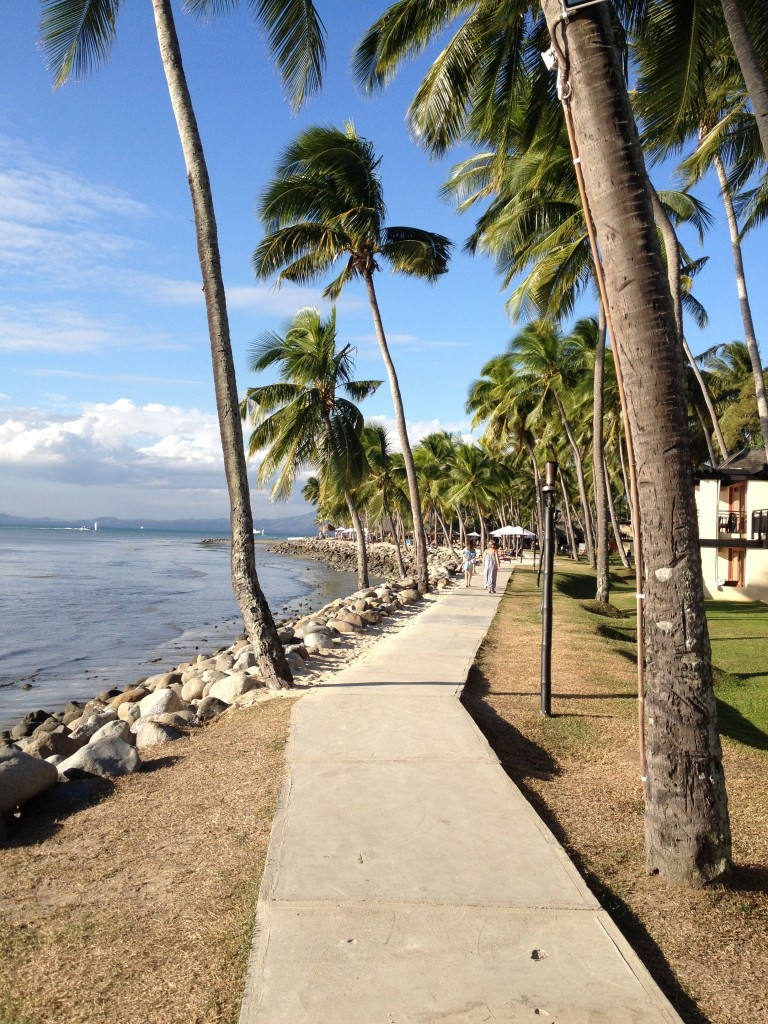 The beachside path that runs between the resorts
