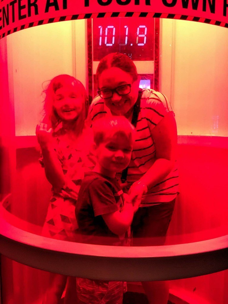 Inside the hurricane simulator at the Petronsans Discovery Centre