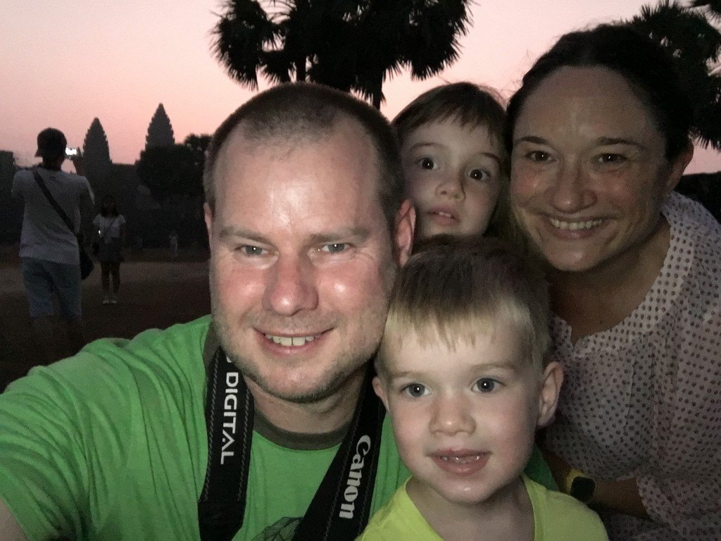 Terrible cheesy sunrise family selfie