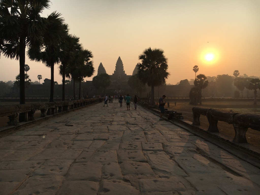 The pathway leading to Angkor Wat at sunrise