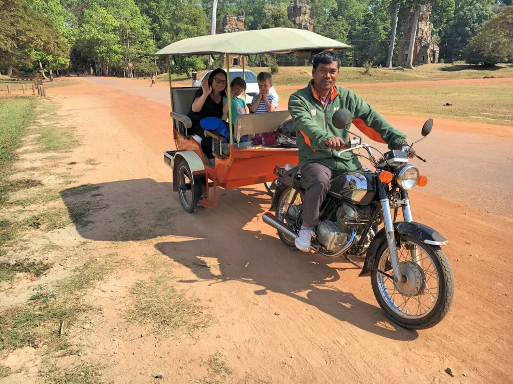 All aboard the tuktuk at Angkor Wat Cambodia