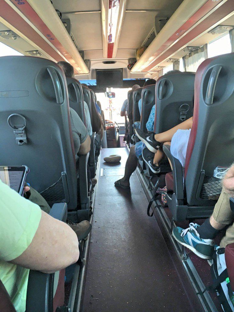On board the Giant Ibis bus in Cambodia