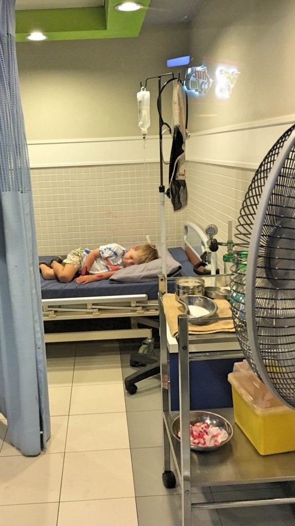 What is Kidzania? Check out this little man pretending to be a patient at the kids hospital.