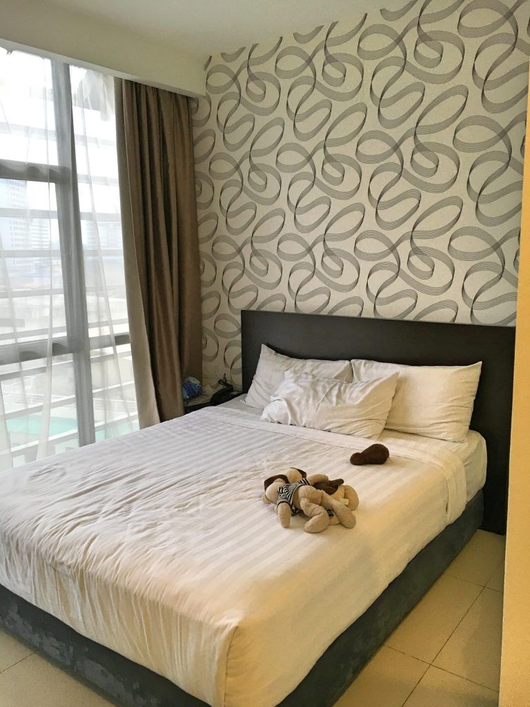 Our comfortable bed at the best budget accommodation Kuala Lumpur