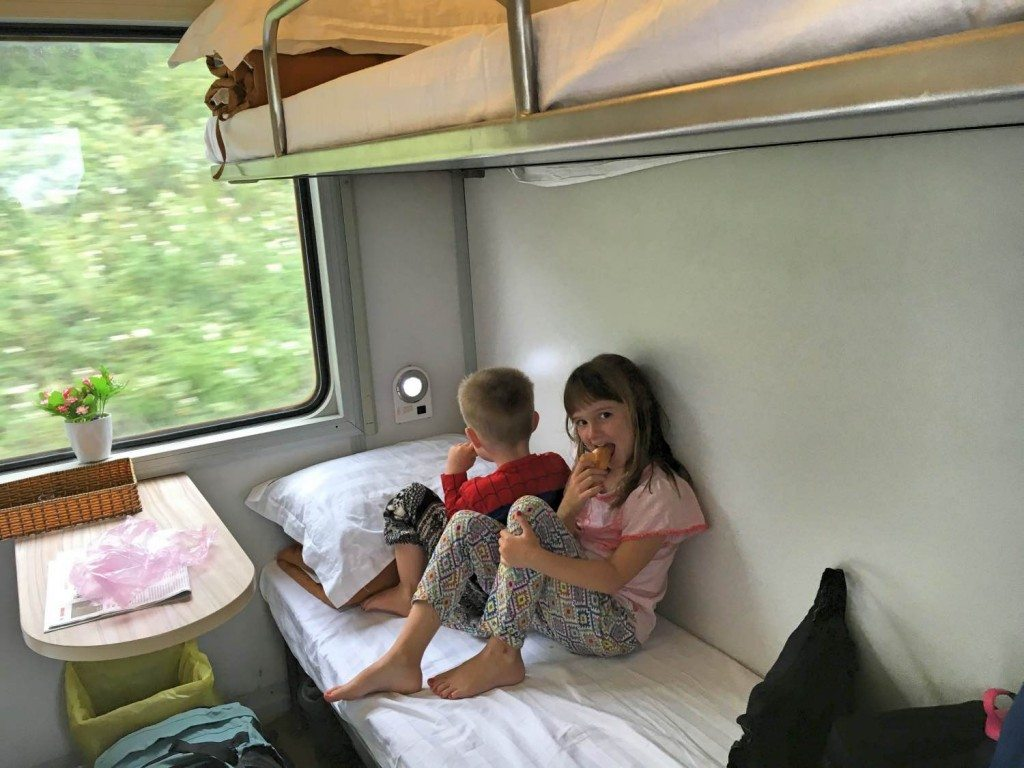 Overnight sleeper train with kids to Hanoi Vietnam