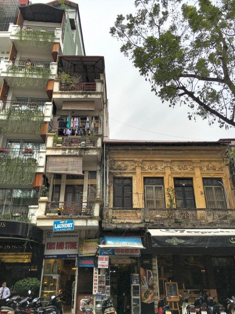 Typical old town buildings Hanoi