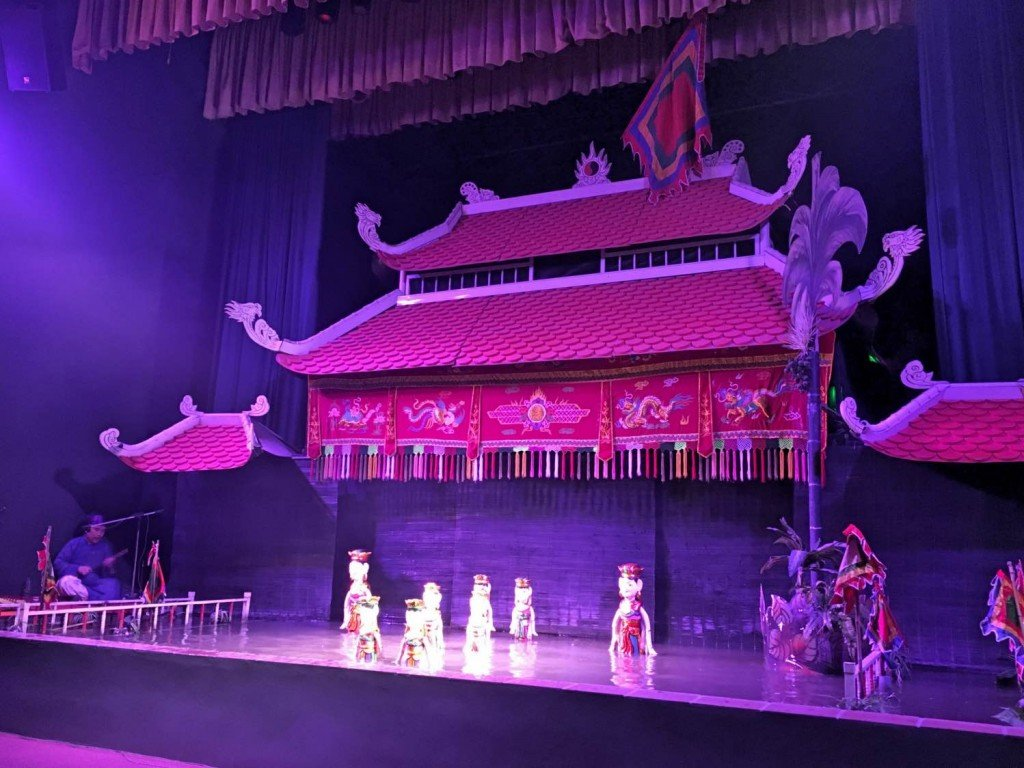 Water puppet show with kids Hanoi