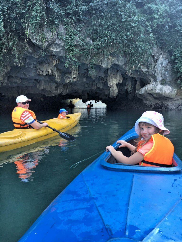 Kayaking with kids in Halong Bay, Vietnam