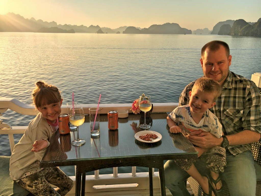 Family cruising in Halong Bay, Vietnam