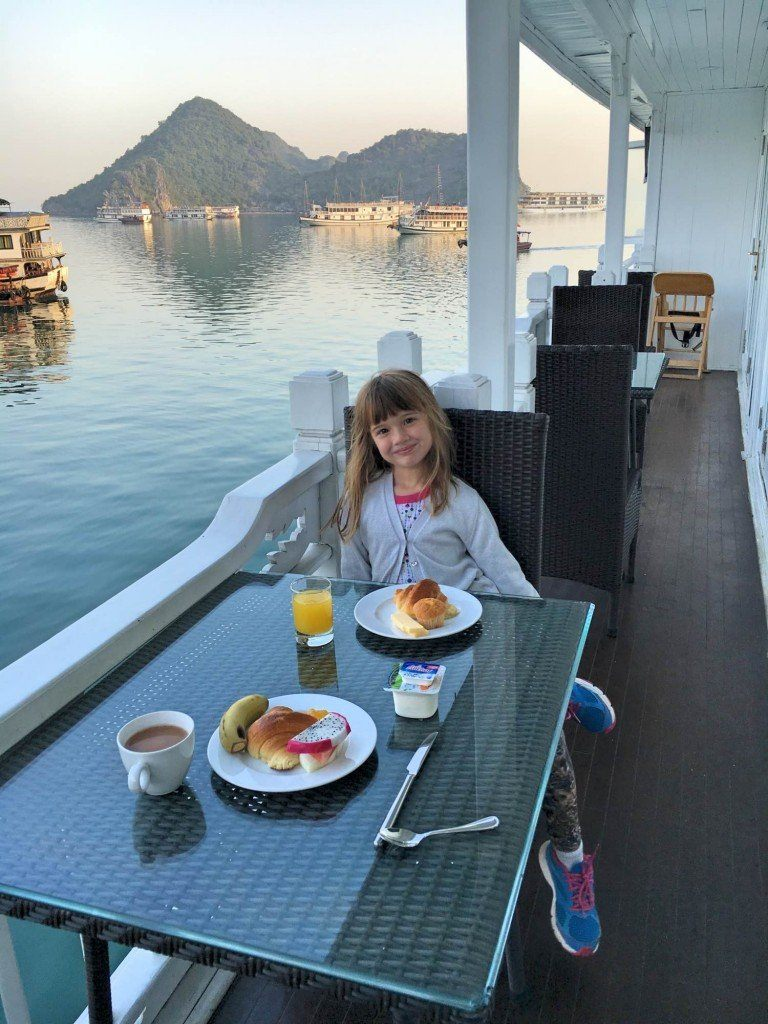 Breakfast on Bhaya II Classic boat, Halong Bay Vietnam