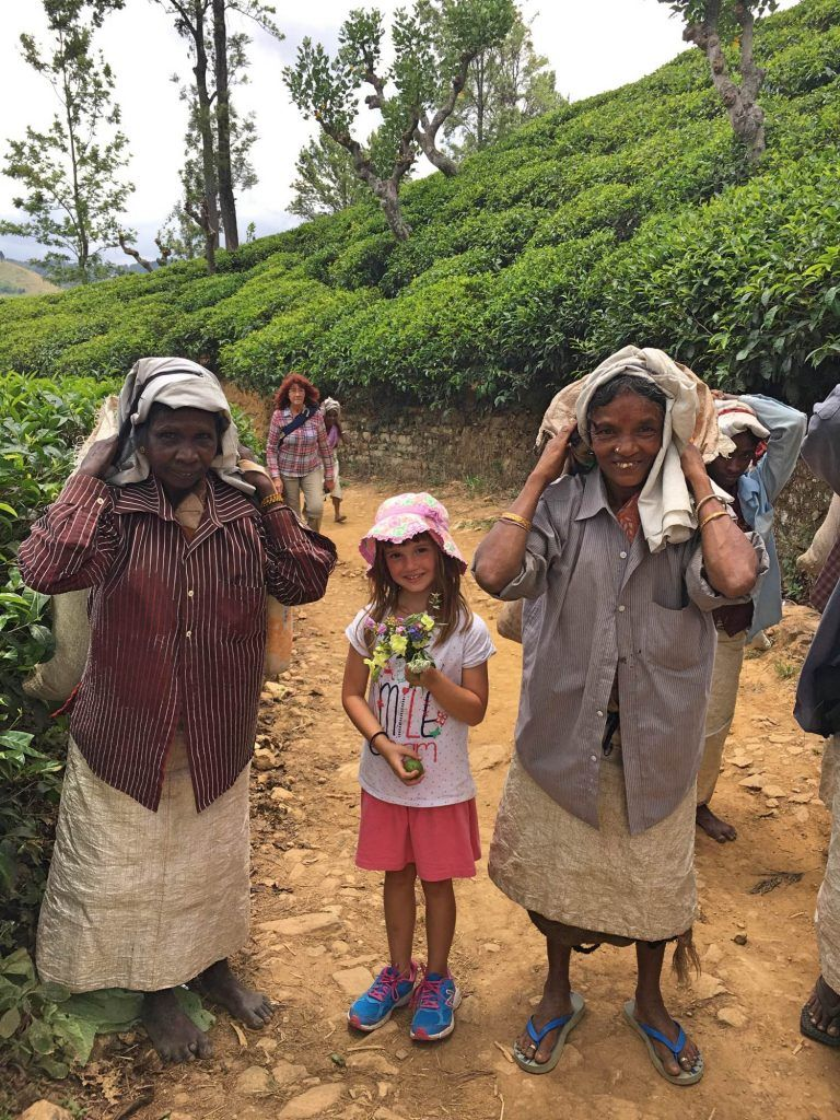 Meeting tea pickers at Little Adams Peak in Sri Lanka