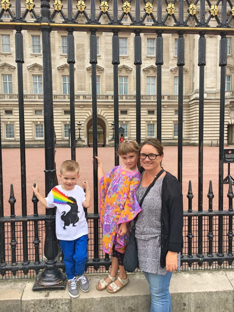 Checking out Buckingham Palace with kids