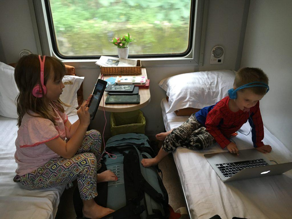 Screentime on an overnight sleeper train in Vietnam
