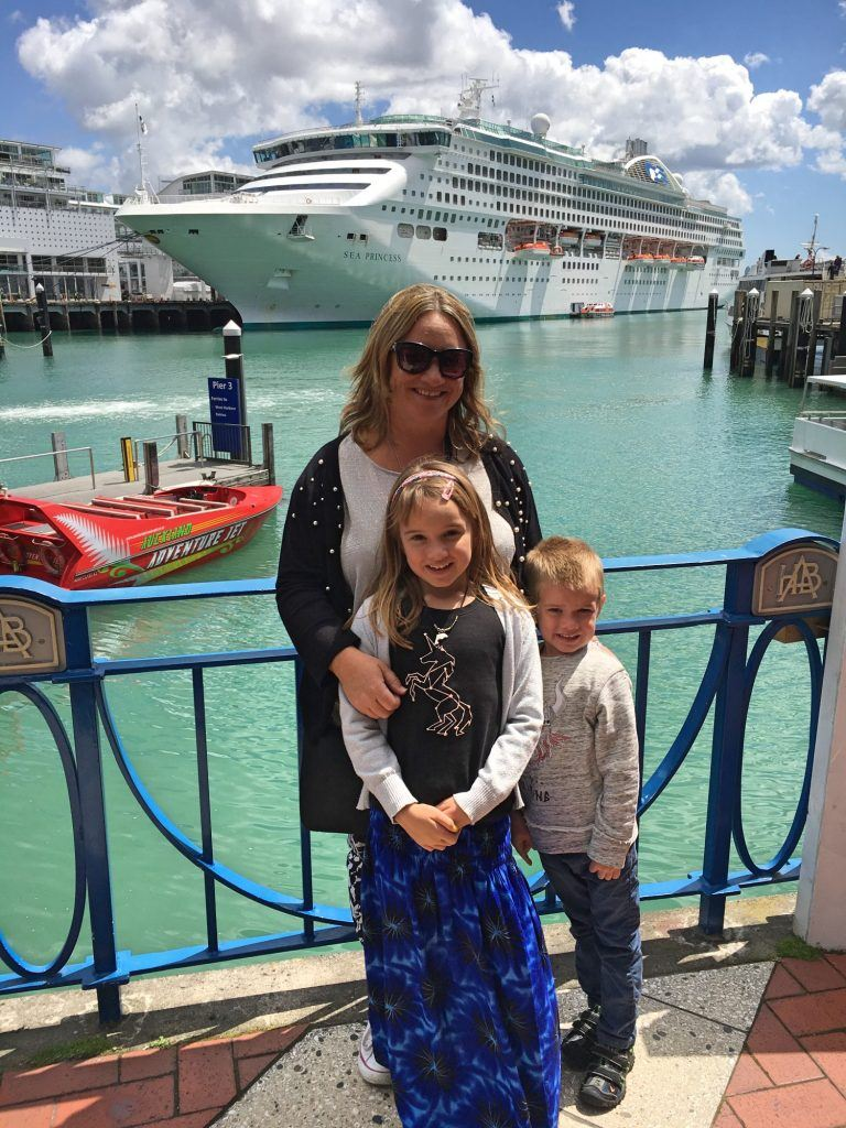 Checking out the cruise ships in Auckland harbour