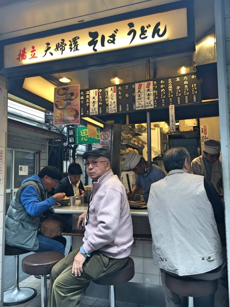 Cool local food stands in Shinjuku