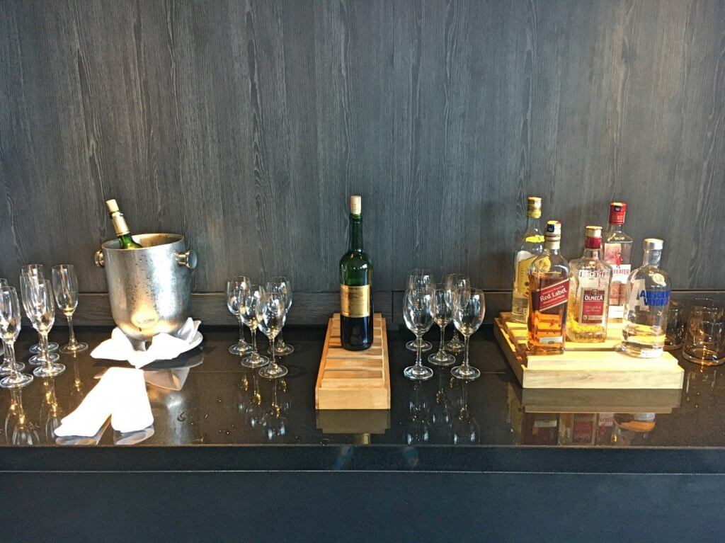 Range of complimentary beverages at the Executive Lounge
