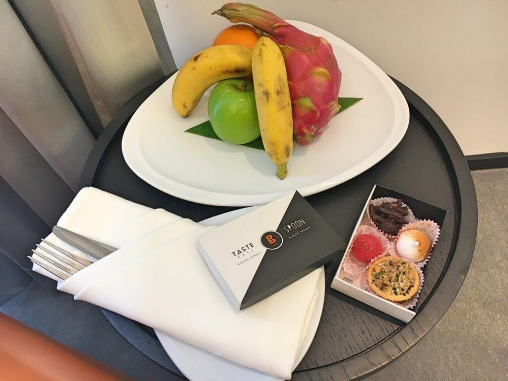 Welcome fruit platter and sweet treats from Taste cafe.