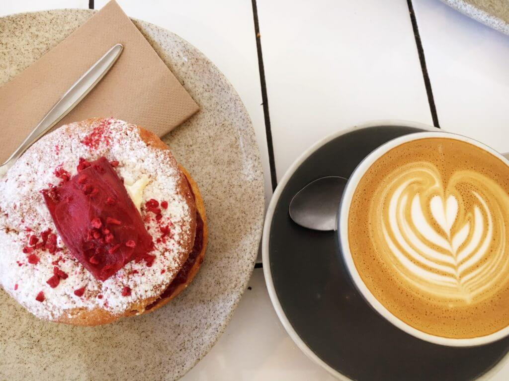 Coffee and rhubarb raspberry sponge at Little and Friday, Newmarket Auckland.