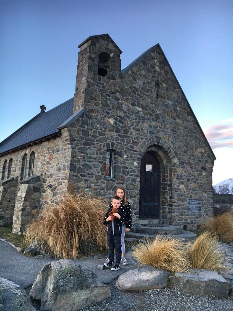 At the historic church in Lake Tekapo