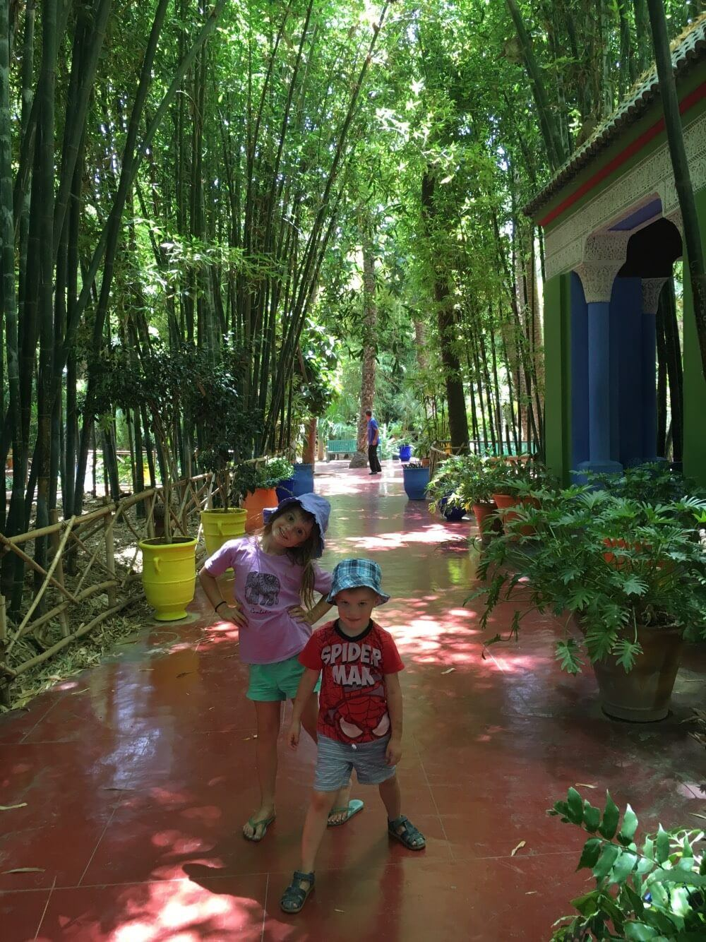 Exploring Jardin Marjorelle with kids
