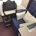Business class seat with Malaysia Airlines.