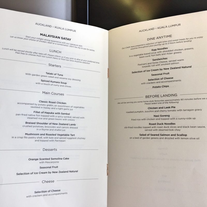 Malaysia Airlines business class menu