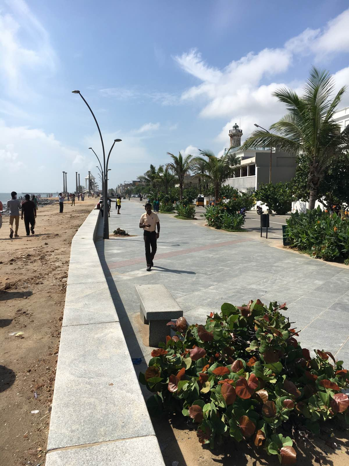 Pondicherry Beach promenade by day