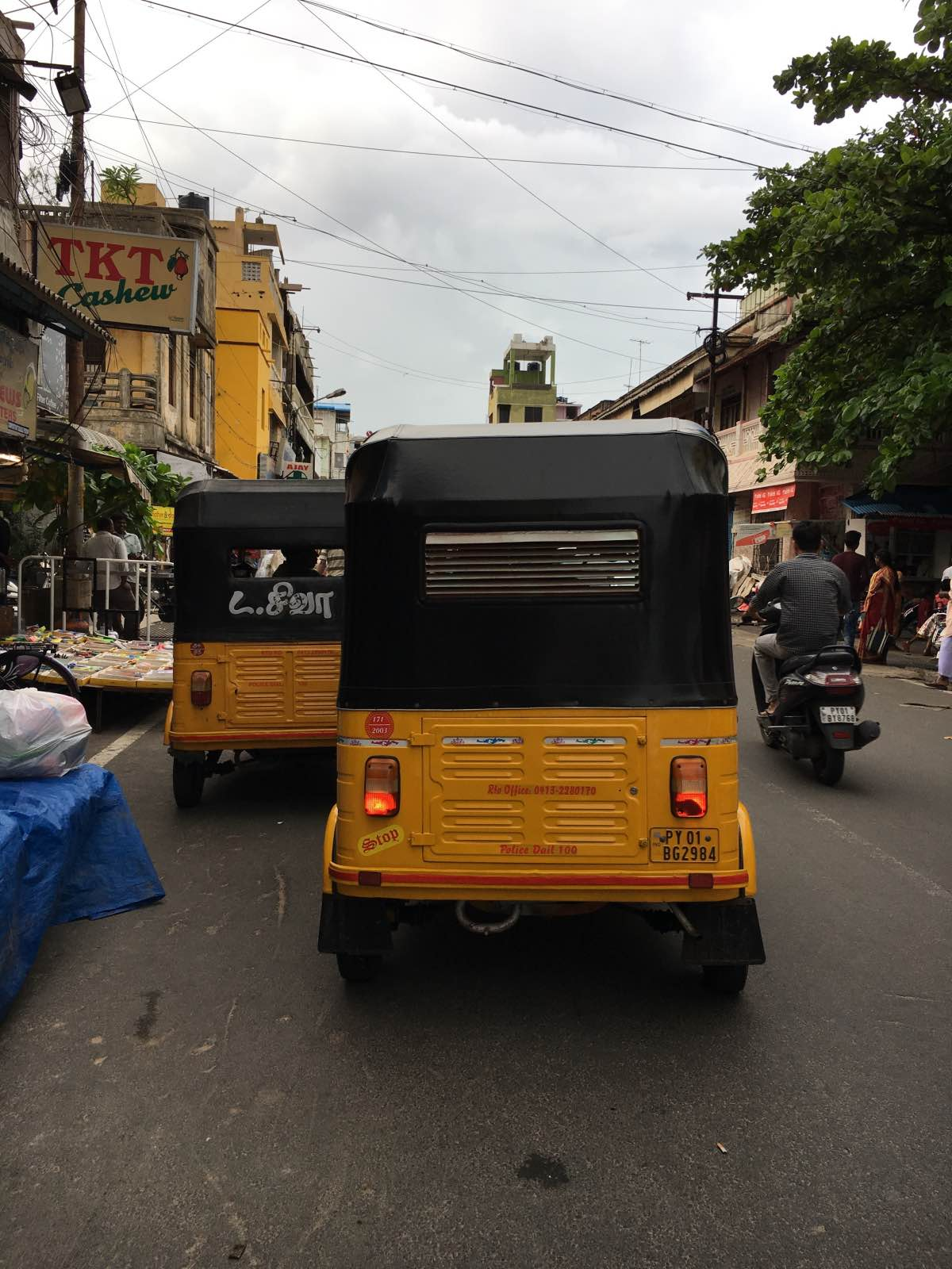 Tuk tuks at Goubert Market Pondicherry