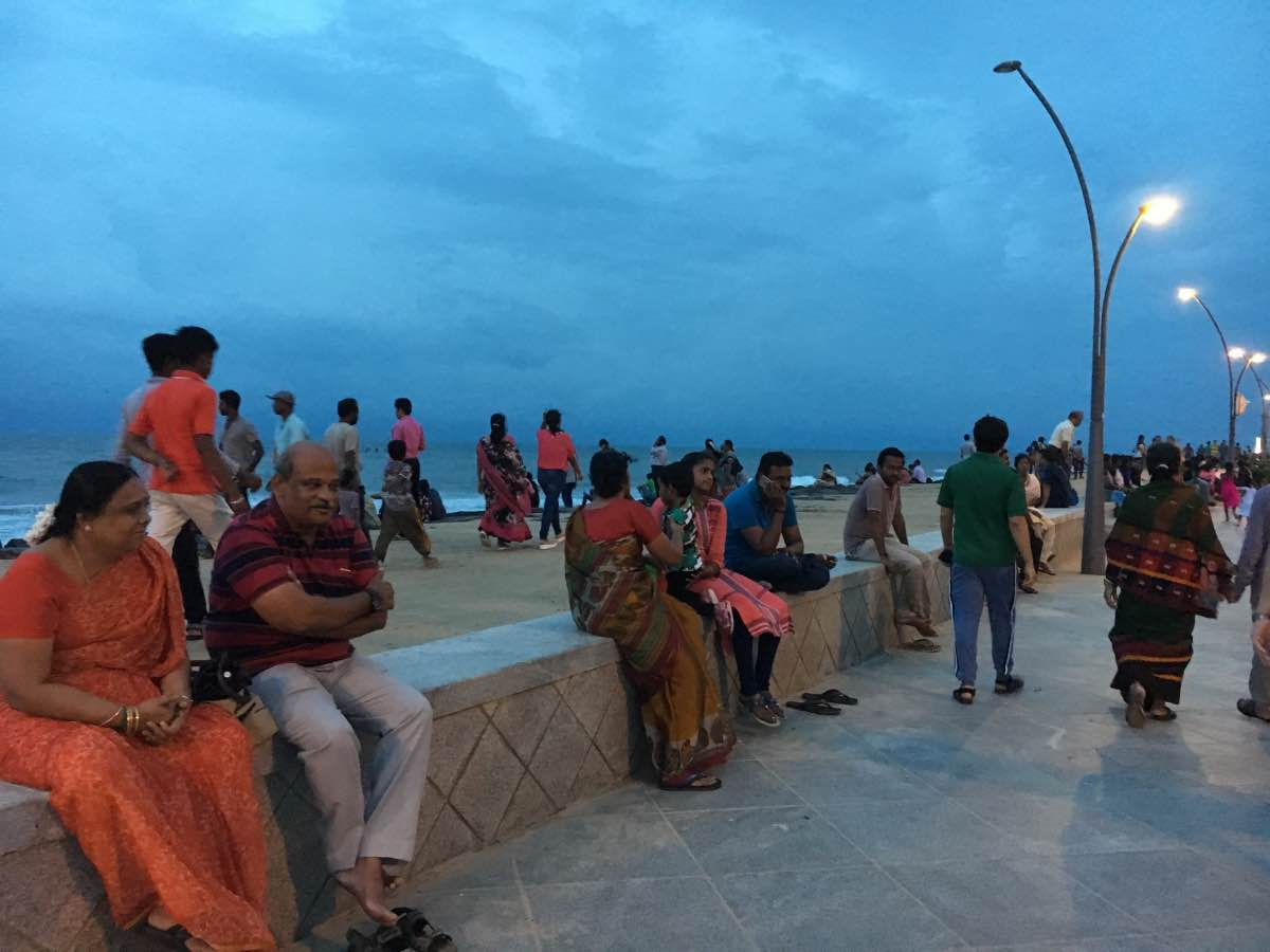 Pondicherry Beach promenade night