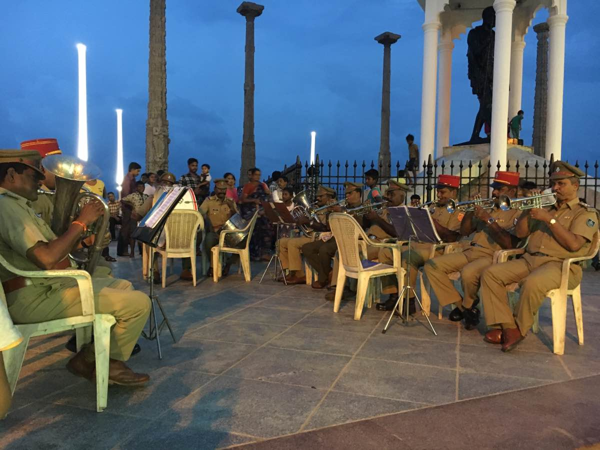 Pondicherry police band playing at Pondicherry beach