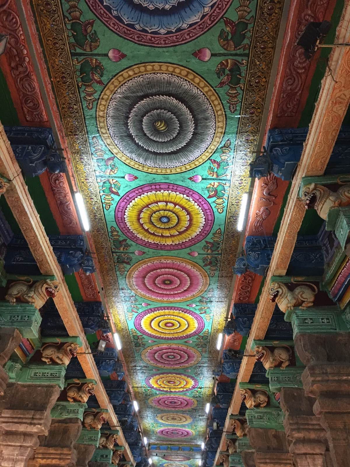 Painted ceilings at the Sri Meenakshi Temple complex in Madurai