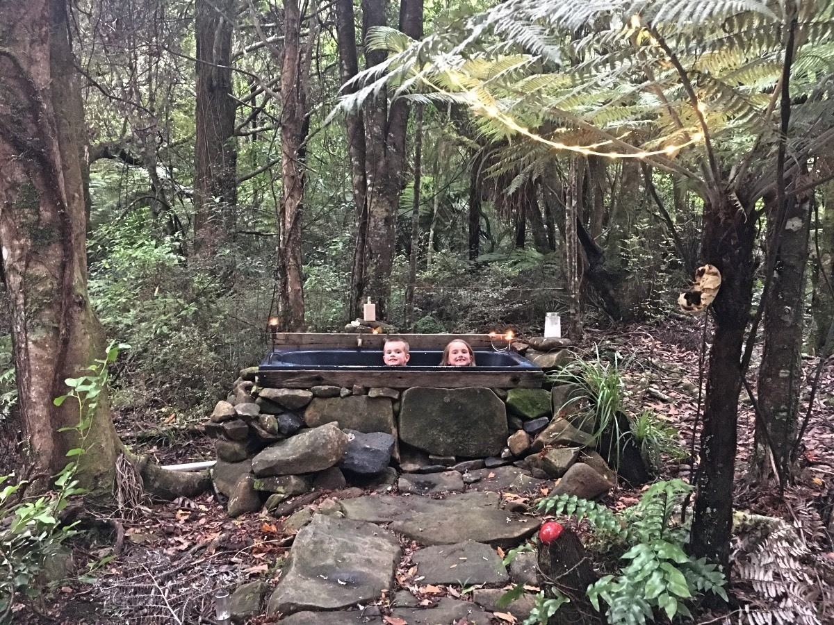 Outdoor bath glamping New Zealand