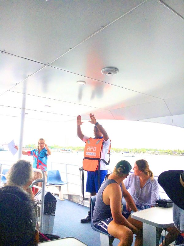 Safety briefing aboard South Sea Cruises catamaran fiji