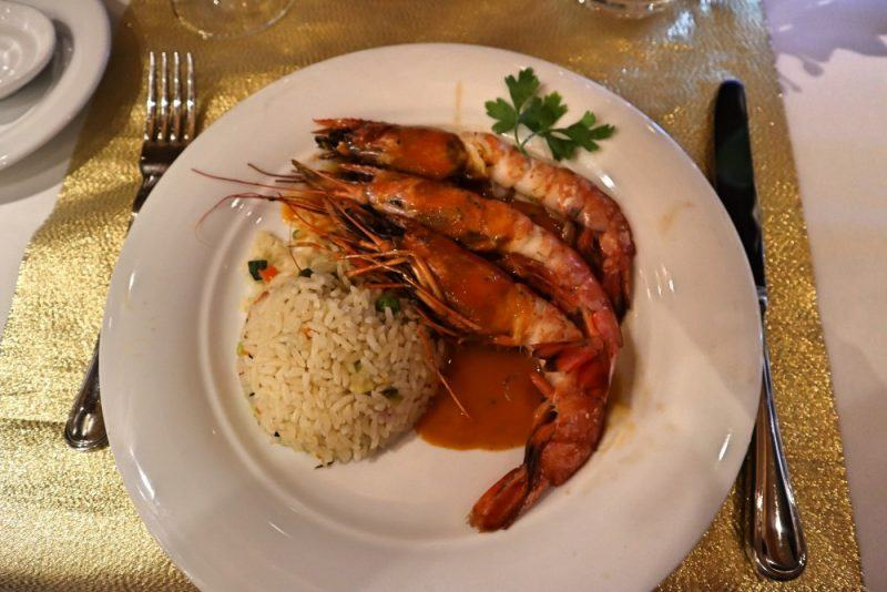 A prawn main dish served on MSC European cruises