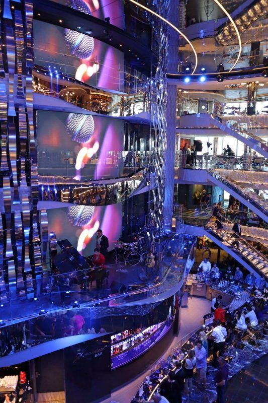 Looking down on The Main Reception Bar where you can enjoy a drink and watch the nightly performances aboard the best MSC cruise ship.