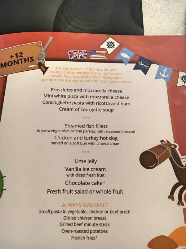 The kids menu aboard our MSC cruises cruise